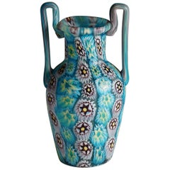 Fratelli Toso Millefiori Murrine Vase with Handles, Murano, circa 1900