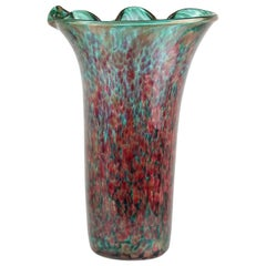 Fratelli Toso Murano Amethyst Green Aventurine Italian Art Glass Flower Vase