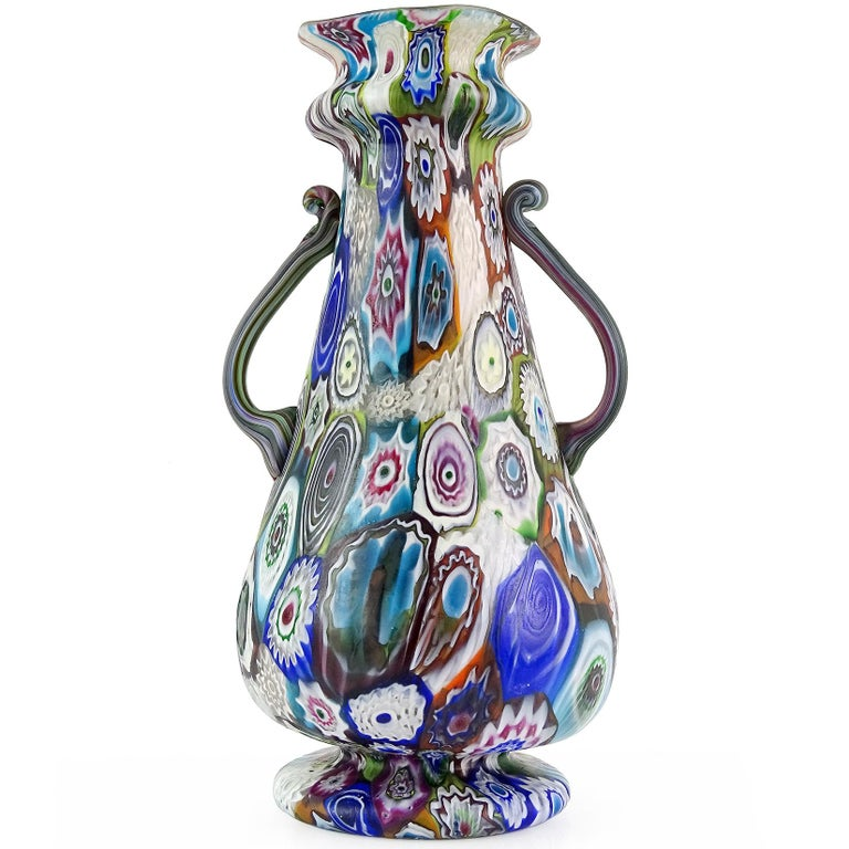 Art Nouveau Fratelli Toso Murano Antique Millefiori Flowers Italian Art Glass Mosaic Vase For Sale