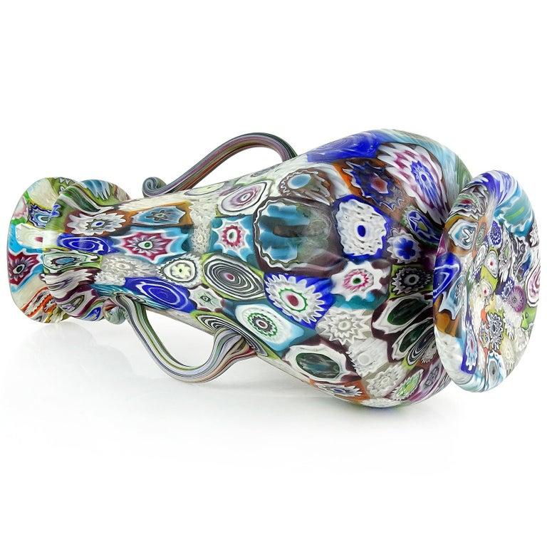 20th Century Fratelli Toso Murano Antique Millefiori Flowers Italian Art Glass Mosaic Vase For Sale