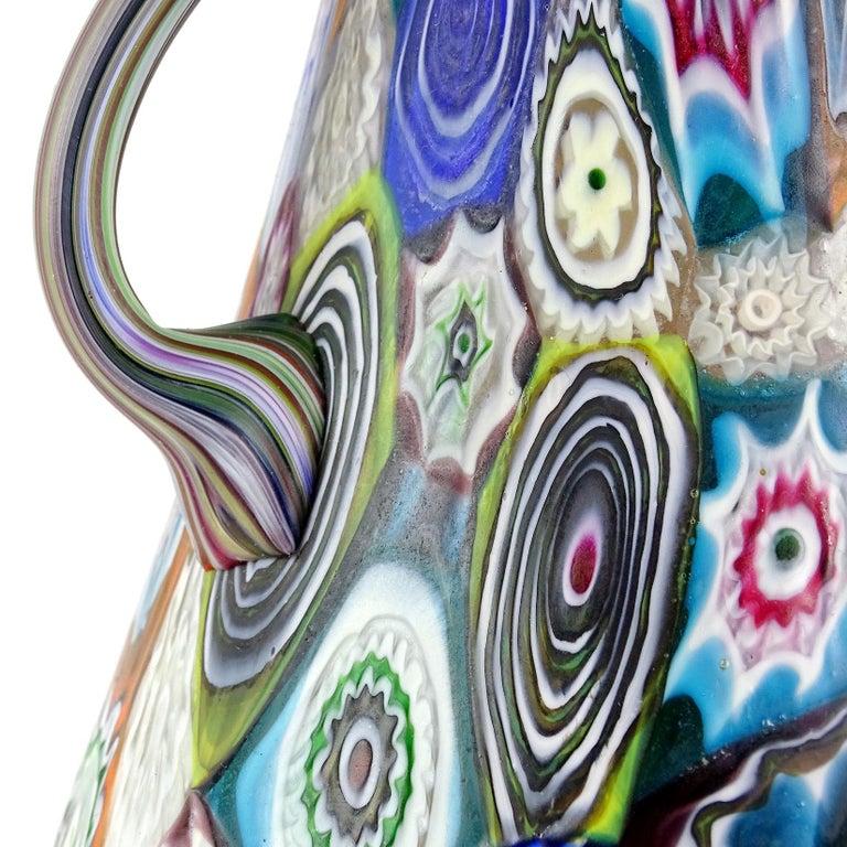 Fratelli Toso Murano Antique Millefiori Flowers Italian Art Glass Mosaic Vase For Sale 1