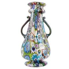 Fratelli Toso Murano Antique Millefiori Flowers Italian Art Glass Mosaic Vase