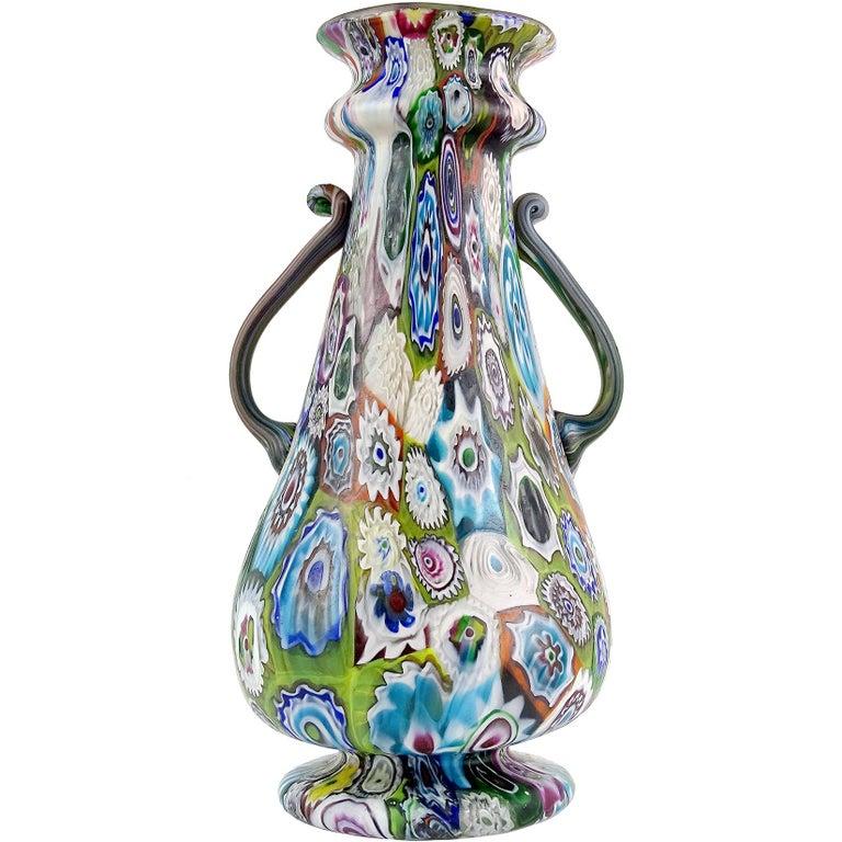 Fratelli Toso Murano Antique Millefiori Flowers Italian Art Glass Mosaic Vase For Sale