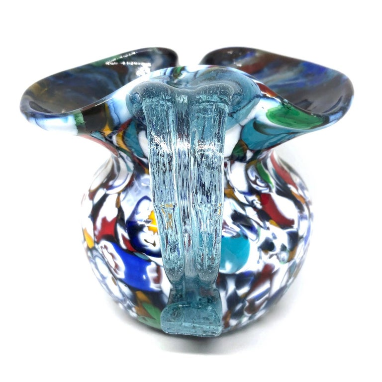 Hand-Crafted Fratelli Toso Murano Art Glass Neoclassical Glass Jug Vase, Italy, 1960s