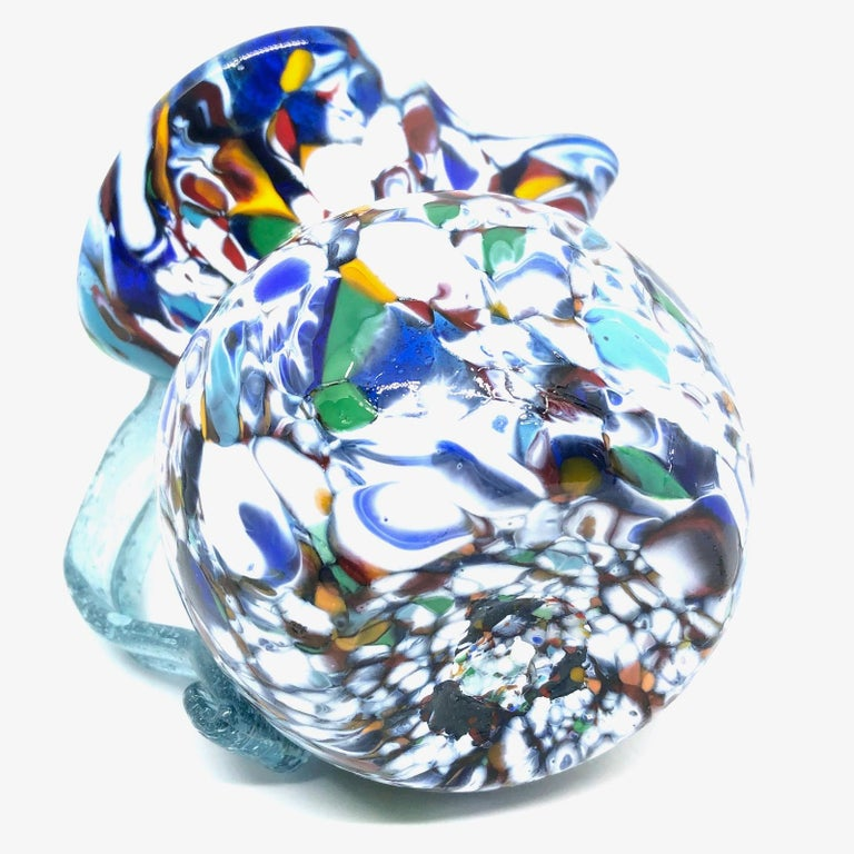 Fratelli Toso Murano Art Glass Neoclassical Glass Jug Vase, Italy, 1960s In Good Condition In Nürnberg, DE