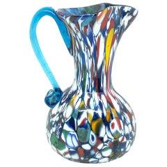 Fratelli Toso Murano Art Glass Neoclassical Glass Jug Vase, Italy, 1960s