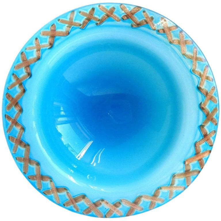 Fratelli Toso Murano Blue Cross Stitch Rim Opalescent Italian Art Glass Bowl