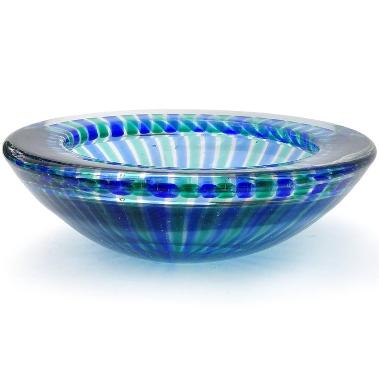 Incredible Murano handblown cobalt blue and green ribbons Italian art glass bowl.