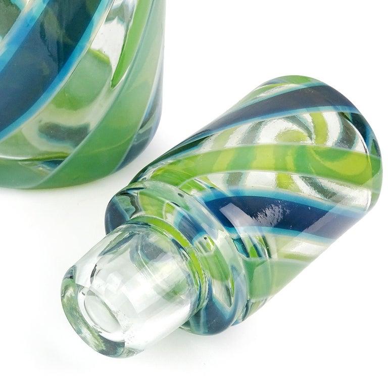 Mid-Century Modern Fratelli Toso Murano Blue Green Stripe Ribbons Italian Art Glass Decanter For Sale