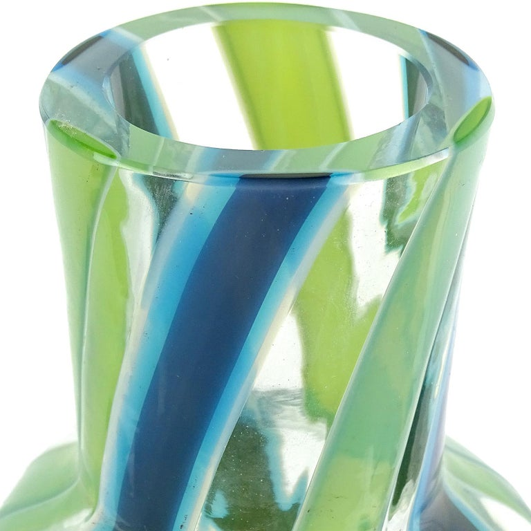 Hand-Crafted Fratelli Toso Murano Blue Green Stripe Ribbons Italian Art Glass Decanter For Sale