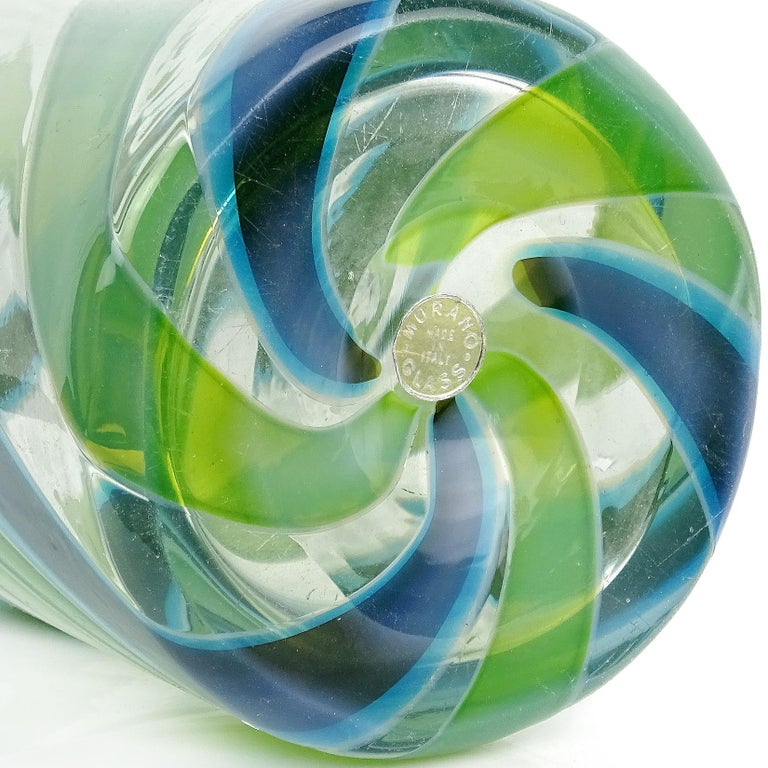 Fratelli Toso Murano Blue Green Stripe Ribbons Italian Art Glass Decanter In Good Condition For Sale In Kissimmee, FL