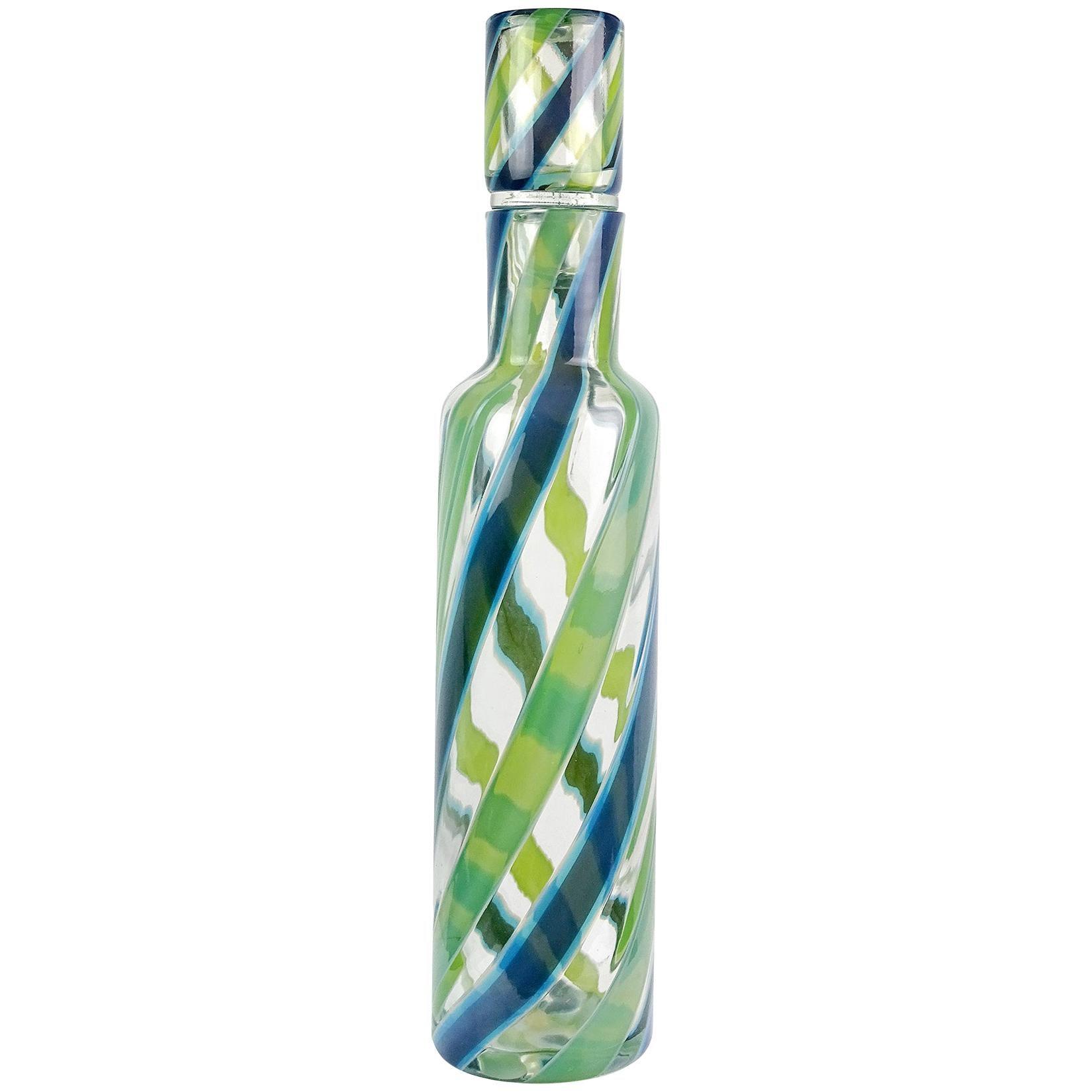 Fratelli Toso Murano Blue Green Stripe Ribbons Italian Art Glass Decanter