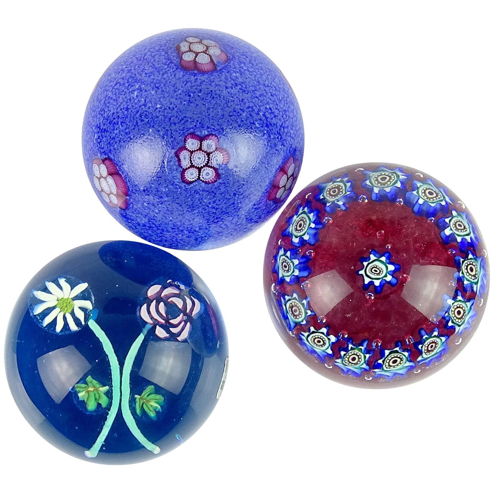 Fratelli Toso Murano Blue Millefiori Flower Italian Art Glass Paperweights