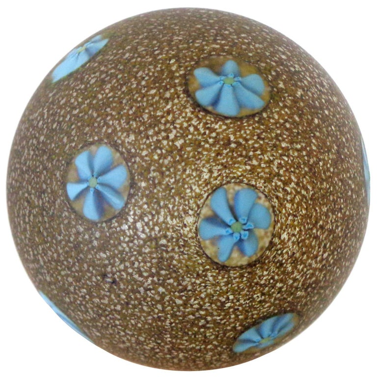 Mid-Century Modern Fratelli Toso Murano Blue Millefiori Satin Glass Italian Art Glass Paperweight For Sale