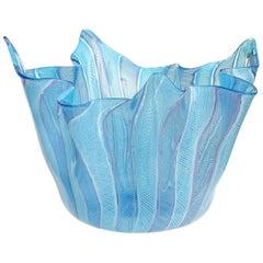Fratelli Toso Murano Blue Pink White Ribbons Italian Art Glass Fazzoletto Vase