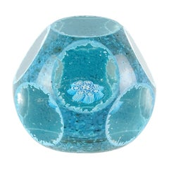 Fratelli Toso Murano Blue Snowflake Mosaic Murrine Italian Art Glass Paperweight