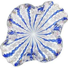 Fratelli Toso Murano Blue White Pink Aventurine Ribbons Italian Art Glass Bowl