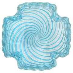 Fratelli Toso Murano Blue Zanfirico Ribbons Gold Flecks Italian Art Glass Bowl