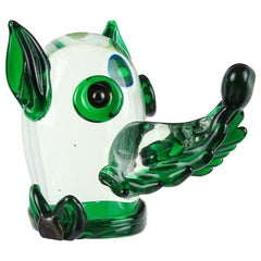 Fratelli Toso Murano Clear Green Italian Art Glass Puppy Dog Paperweight Figure