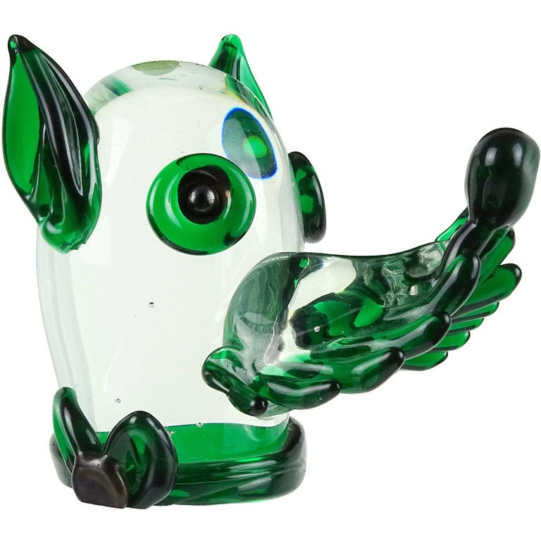 Fratelli Toso Murano Clear Green Italian Art Glass Puppy Dog Paperweight Figure For Sale