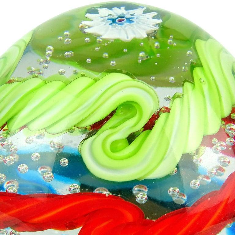 Mid-Century Modern Fratelli Toso Murano Colorful Millefiori Ribbon Italian Art Glass Paperweight For Sale