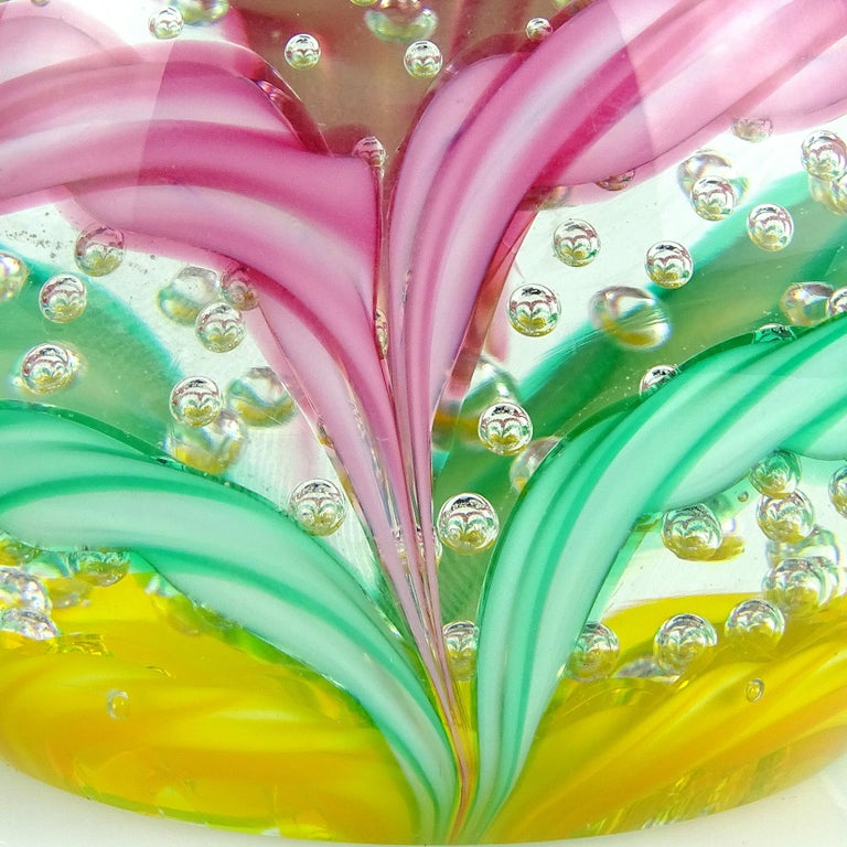 Fratelli Toso Murano Colorful Millefiori Ribbon Italian Art Glass Paperweight In Good Condition For Sale In Kissimmee, FL