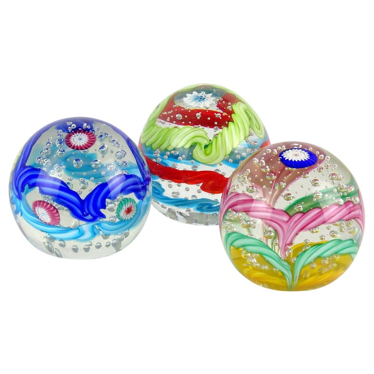 Fratelli Toso Murano Colorful Millefiori Ribbon Italian Art Glass Paperweight For Sale