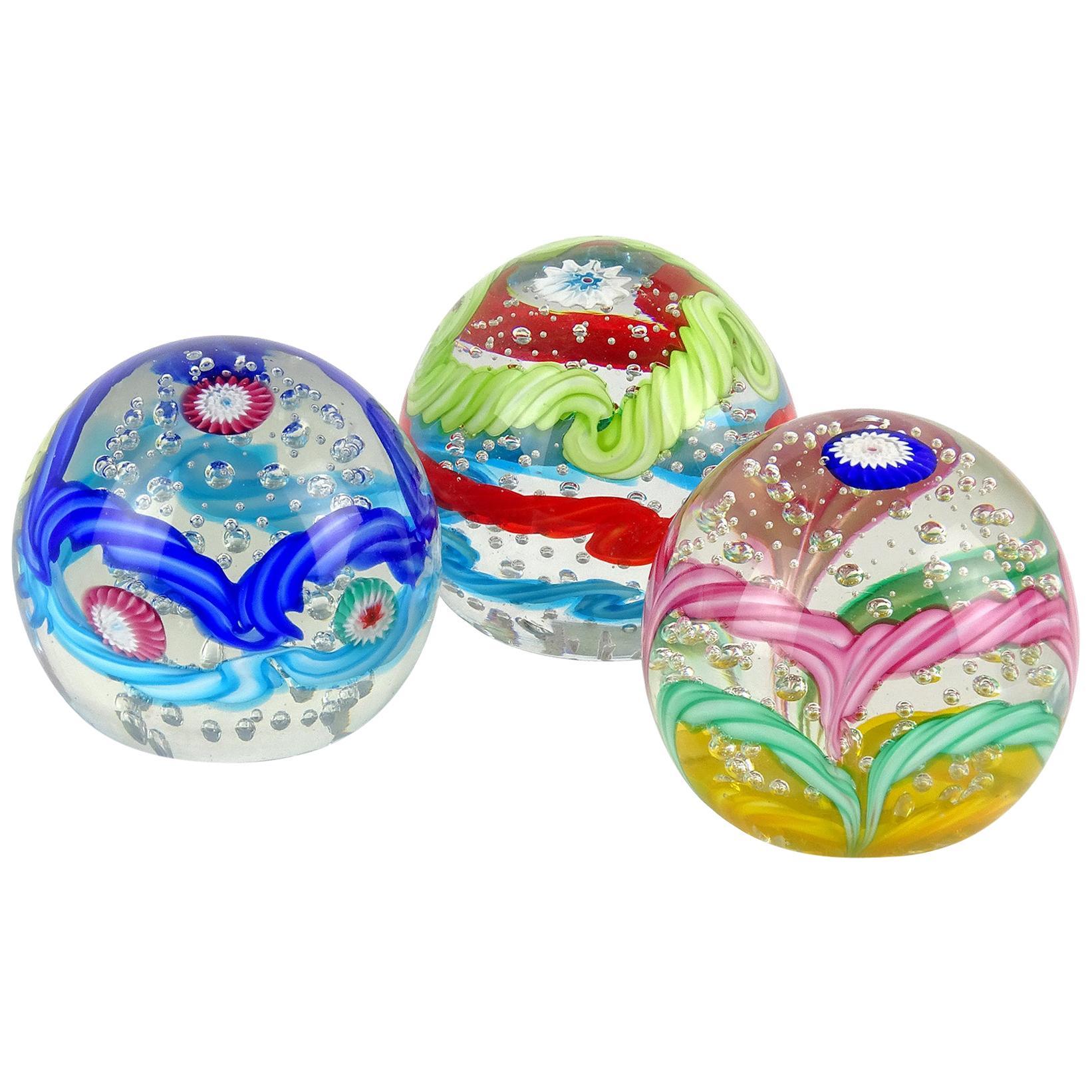 Fratelli Toso Murano Colorful Millefiori Ribbon Italian Art Glass Paperweights