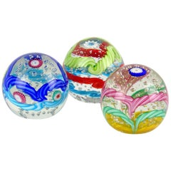 Fratelli Toso Murano Colorful Millefiori Ribbon Italian Art Glass Paperweights