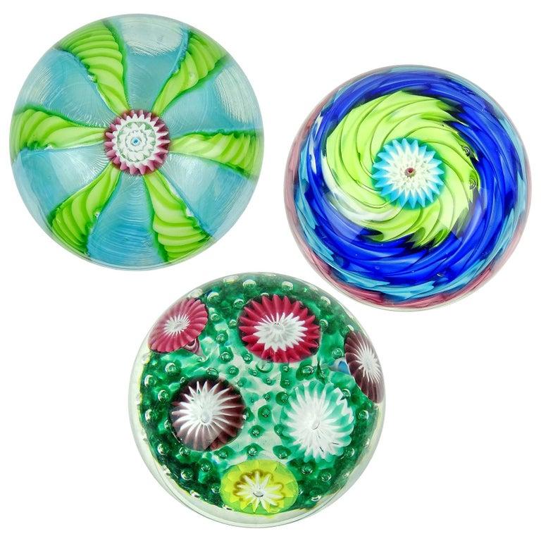 Fratelli Toso Murano Colorful Millefiori Ribbon Italian Art Glass Paperweights For Sale