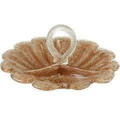 Fratelli Toso Murano Copper Aventurine Overshot Italian Art Glass Serving Bowl