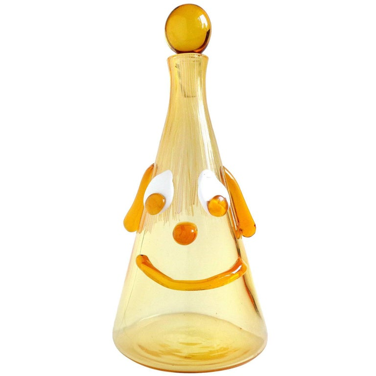 Fratelli Toso Murano Cranberry Yellow Clown Face Italian Art Glass Decanter