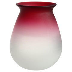 Fratelli Toso Murano Deep Red to White Satin Italian Art Glass Flower Vase
