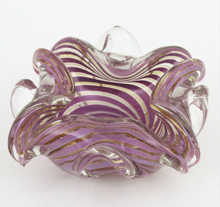 Fratelli Toso Murano Glass Lilac Swirl Ribbons & Gold Dust Large Bowl / Ashtray For Sale 4