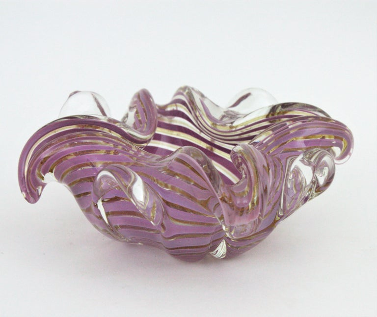 Fratelli Toso Murano Glass Lilac Swirl Ribbons & Gold Dust Large Bowl / Ashtray For Sale 5