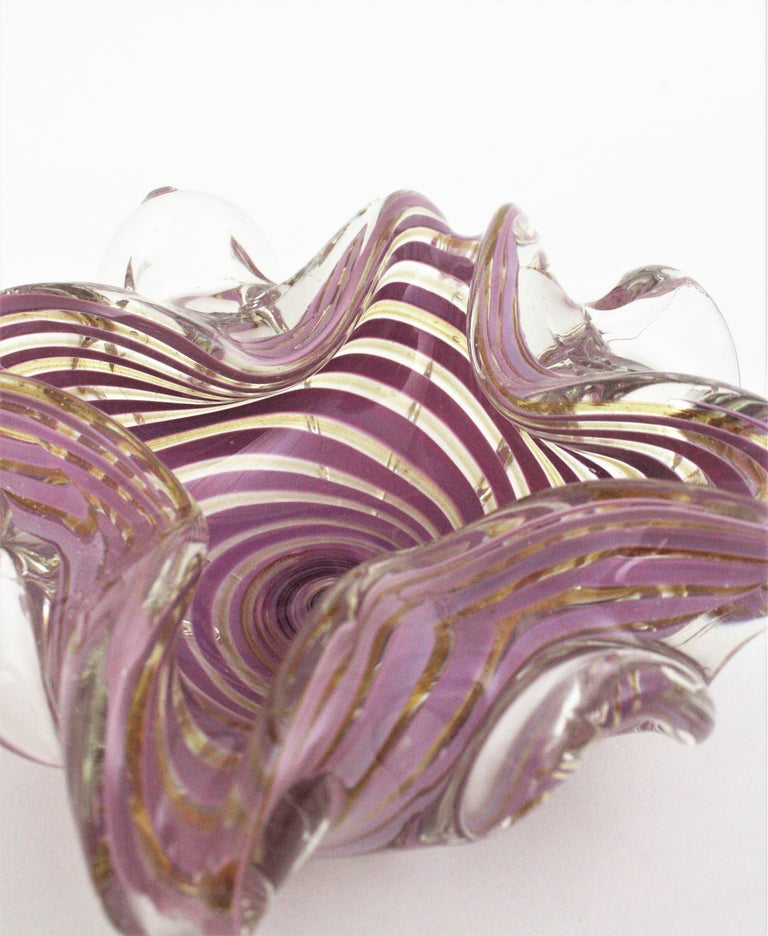 Fratelli Toso Murano Glass Lilac Swirl Ribbons & Gold Dust Large Bowl / Ashtray For Sale 8
