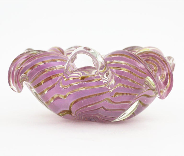 Fratelli Toso Murano Glass Lilac Swirl Ribbons & Gold Dust Large Bowl / Ashtray For Sale 9