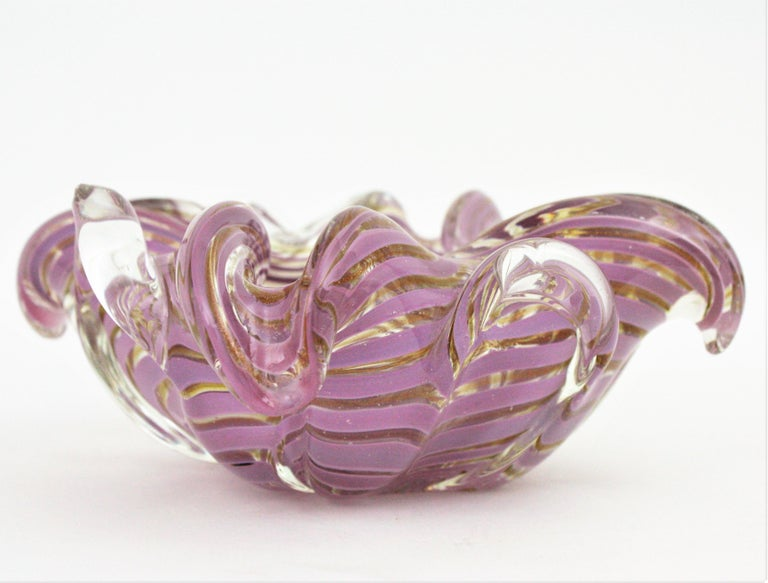 Italian Fratelli Toso Murano Glass Lilac Swirl Ribbons & Gold Dust Large Bowl / Ashtray For Sale