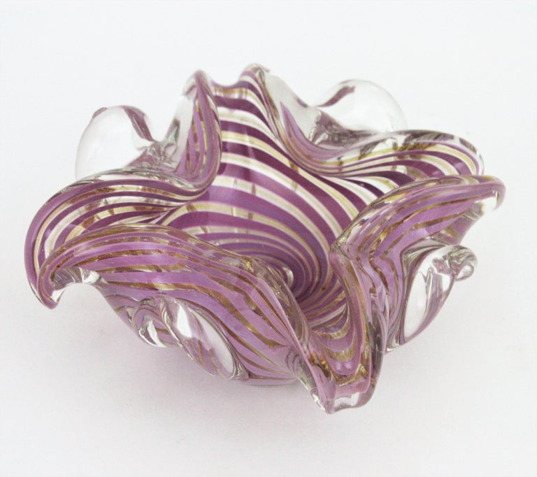 Fratelli Toso Murano Glass Lilac Swirl Ribbons & Gold Dust Large Bowl / Ashtray For Sale 2