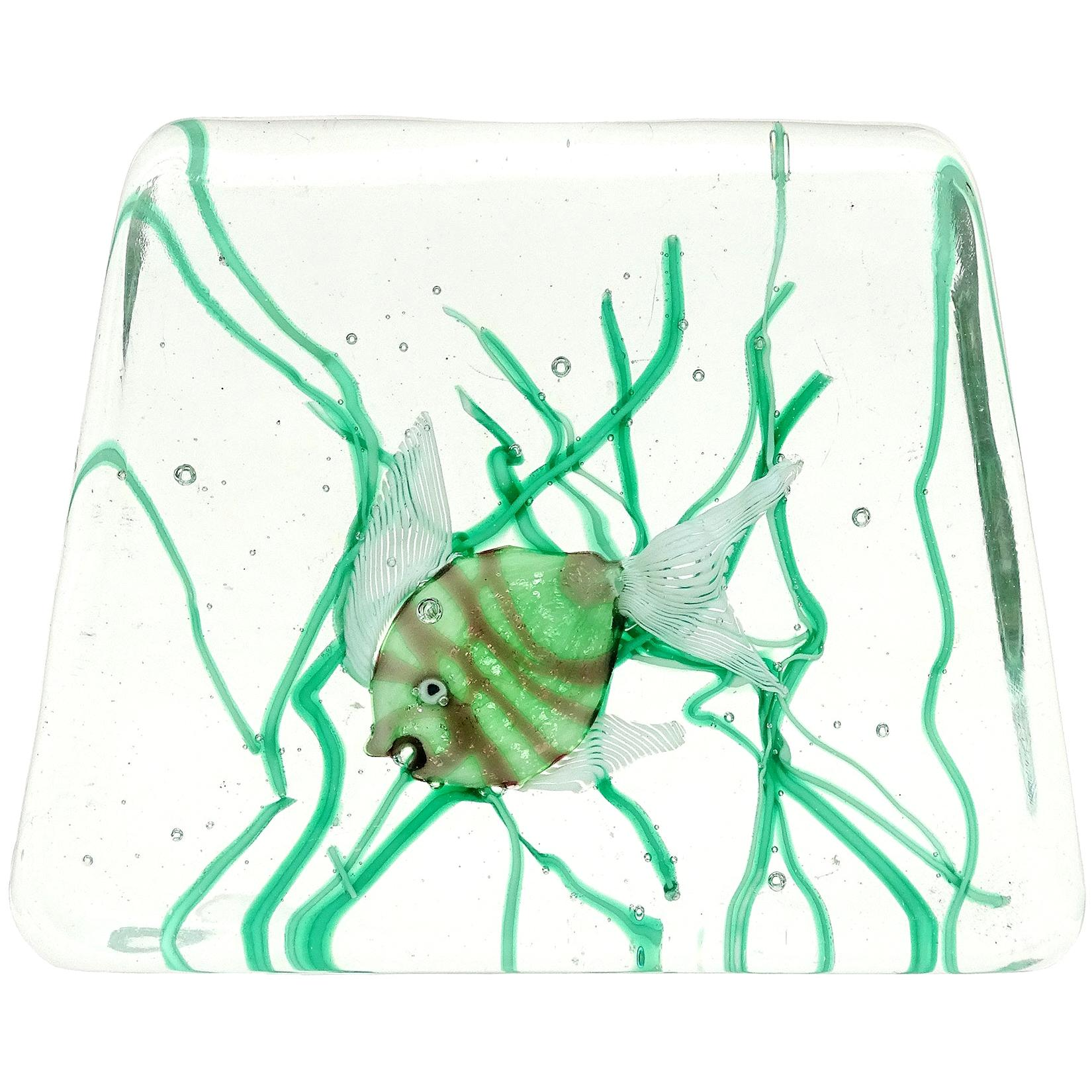 Fratelli Toso Murano Green Fish Italian Art Glass Aquarium Paperweight Sculpture