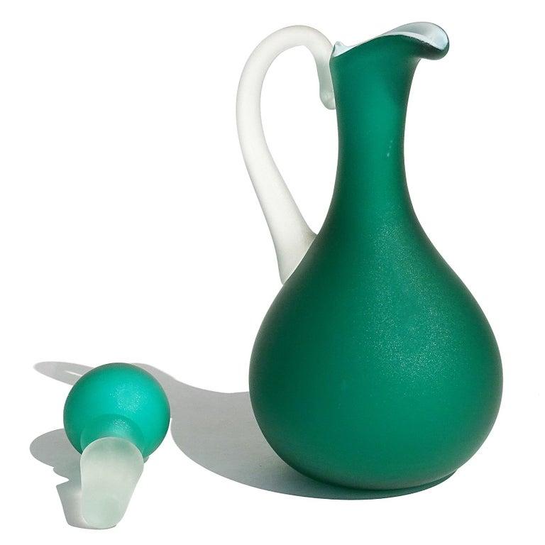 20th Century Fratelli Toso Murano Green Millefiori Flowers Satin Italian Art Glass Ewer Cruet