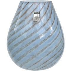 Fratelli Toso Murano Light Blue Aventurine Swirl Italian Art Glass Flower Vase