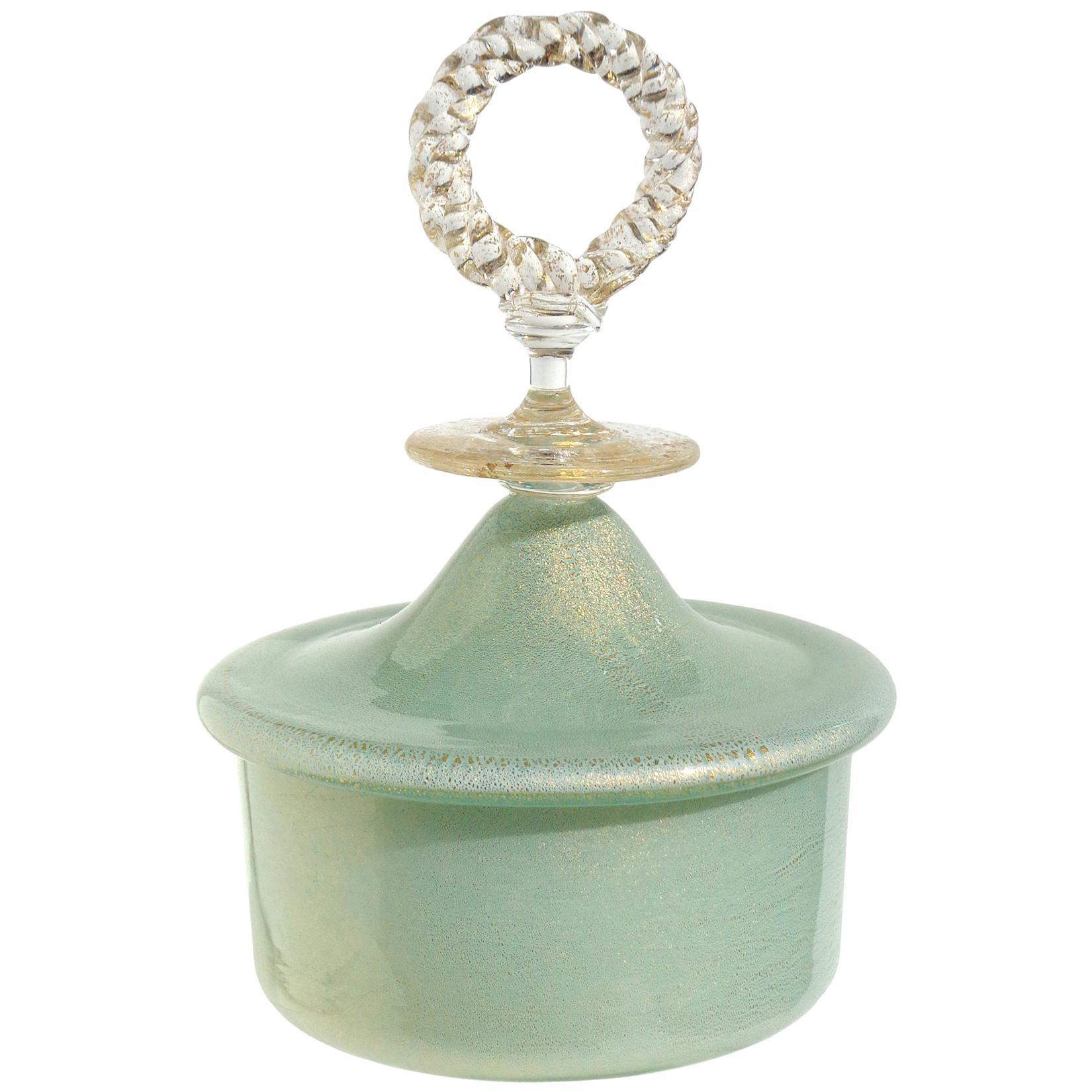 Fratelli Toso Murano Light Green Gold Flecks Italian Art Glass Decorative Box