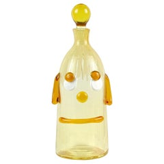 Fratelli Toso Murano Midcentury Orange Clown Face Italian Art Glass Decanter