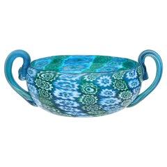 Fratelli Toso Murano Millefiori Flower Antique Italian Art Glass Vide Poche Bowl