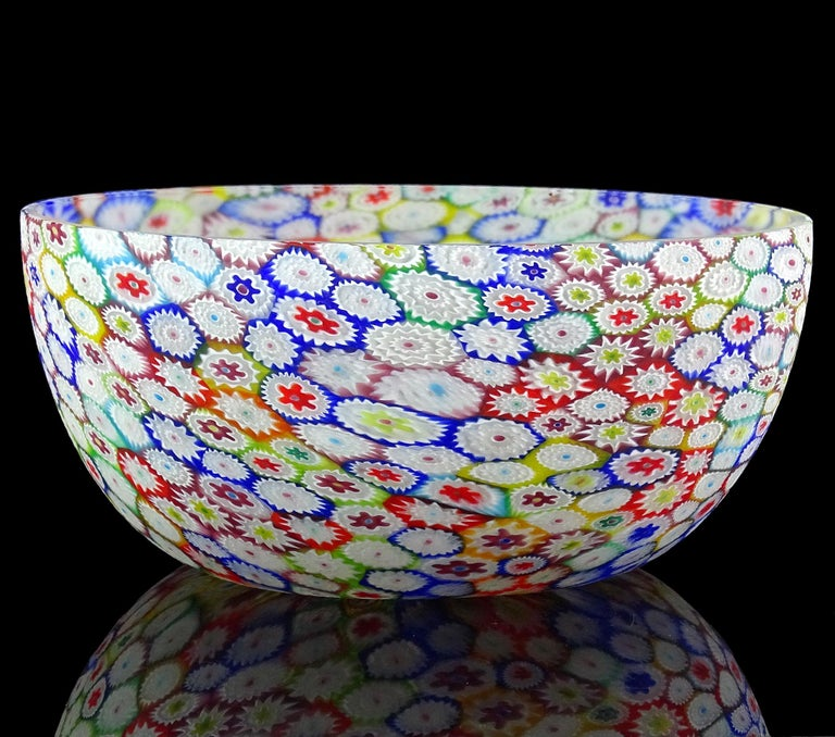 Fratelli Toso Murano Millefiori Flower Mosaic Italian Art Glass Footed Vase For Sale 5
