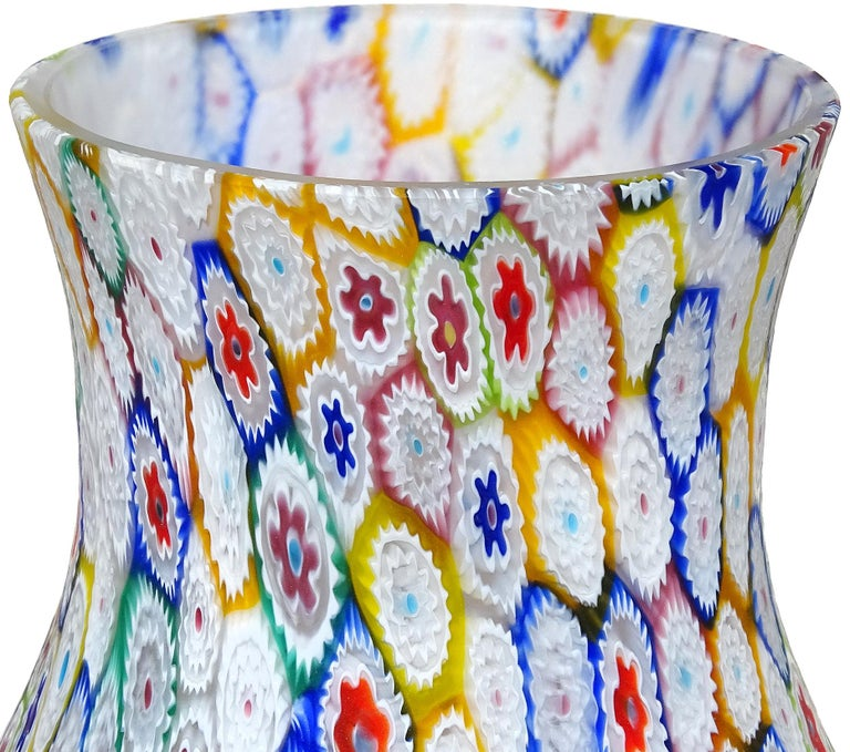 Fratelli Toso Murano Millefiori Flower Mosaic Italian Art Glass Footed Vase In Good Condition For Sale In Kissimmee, FL