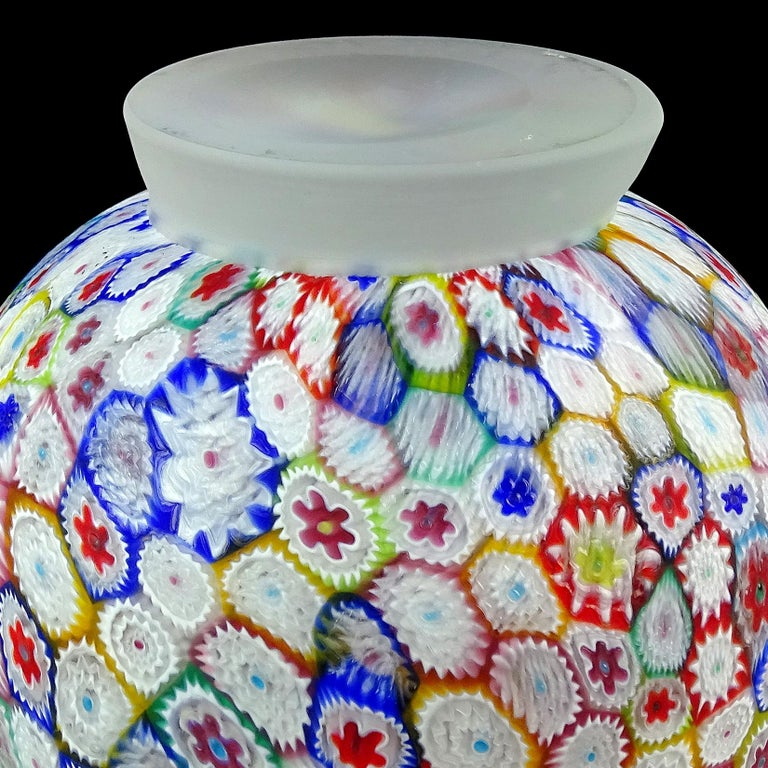 Fratelli Toso Murano Millefiori Flower Mosaic Italian Art Glass Footed Vase For Sale 4