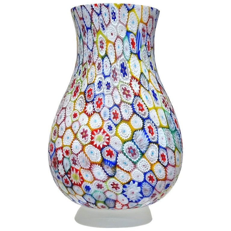 Fratelli Toso Murano Millefiori Flower Mosaic Italian Art Glass Footed Vase For Sale