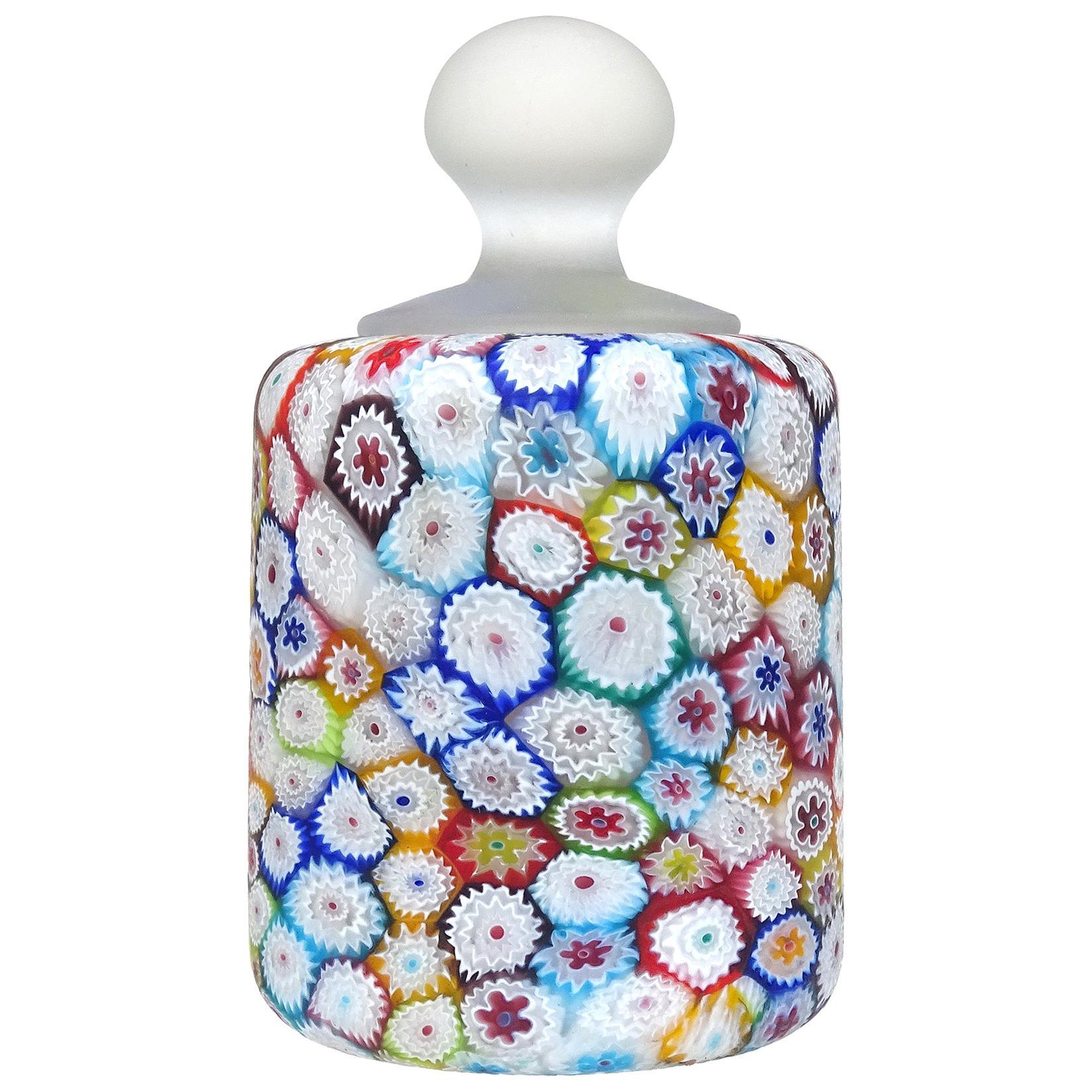 Fratelli Toso Murano Millefiori Flower Mosaic Italian Art Glass Paperweight
